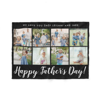 Happy Father's Day 8 Photo Custom Message | Fleece Blanket