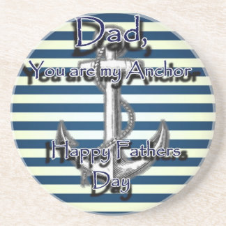 Happy Fathers Day Anchor Drink Coaster