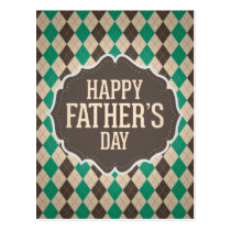 Happy Father's Day Argyle Pattern Postcard