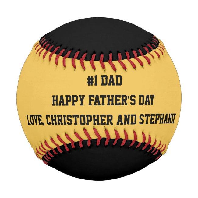 Happy Father's Day Baseball, #1 Dad, Custom