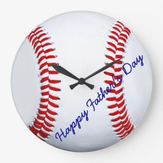 Happy Father's Day Baseball Large Wall Clock