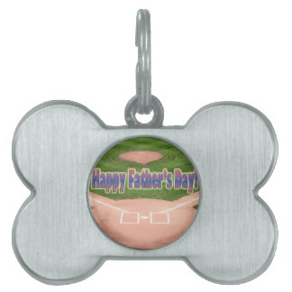 Happy Fathers Day Baseball Pet ID Tag