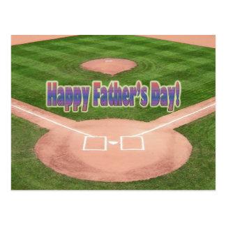 Happy Fathers Day Baseball Postcard