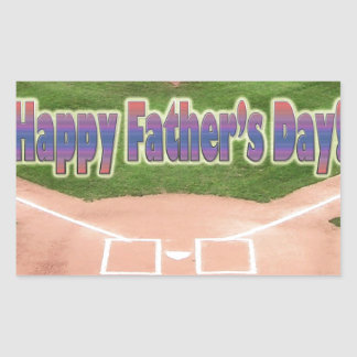 Happy Fathers Day Baseball Rectangular Sticker