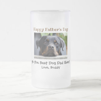 Happy Father's Day Best Dog Dad Photo Frosted Glass Beer Mug