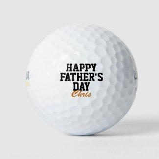 Happy Father's Day Black and Orange Monogrammed Golf Balls