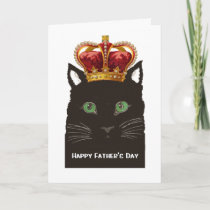 Happy Father's Day Black Cat wearing Crown Card