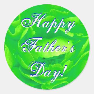 Happy Father's Day Bright Green Rose Classic Round Sticker