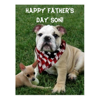 Happy Father's Day Bulldob Greeting Card Post Card