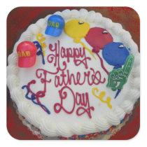 Happy Father's Day Cake Square Sticker