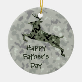 Happy Father's Day Camo Deer Double-Sided Ceramic Round Christmas Ornament