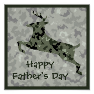 Happy Father's Day Camo Deer Poster