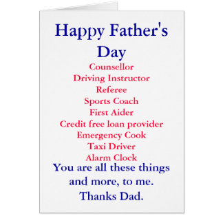 Happy Father's Day, Card