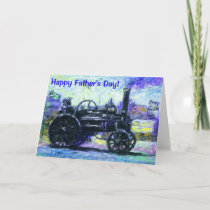 Happy Father's Day card with a Steam Tractor
