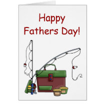 Happy Fathers day card with fishing gear