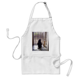 Happy Fathers Day Cat And Kitten Adult Apron