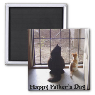 Happy Fathers Day Cat And Kitten Magnet