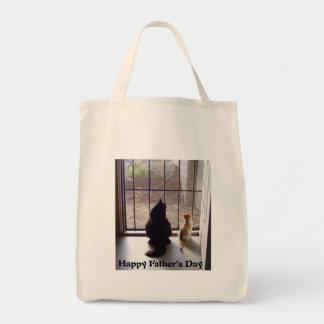 Happy Fathers Day Cat And Kitten Tote Bag