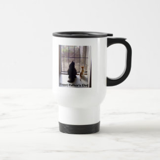 Happy Fathers Day Cat And Kitten Travel Mug