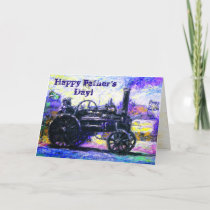 Happy Father's Day color card with a Steam Tractor