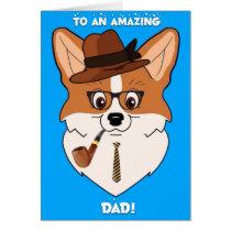 Happy Father's Day Corgi Cartoon Card