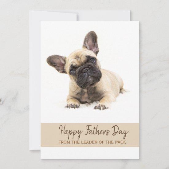 Happy Fathers Day Custom French Bulldog Photo Holiday Card