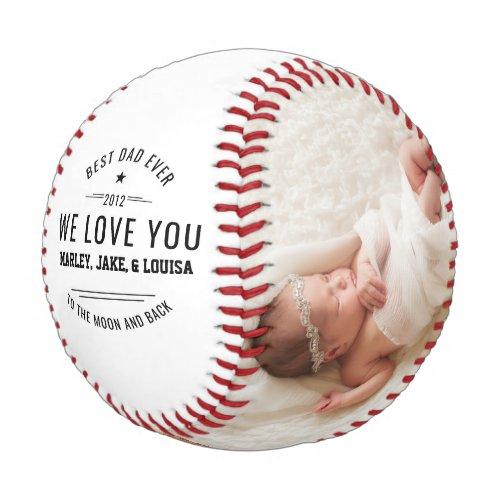 Happy Fathers Day Custom Photo Baseball
