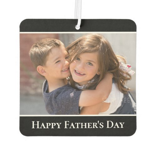 Happy Fathers Day Custom Photo Modern Black Air Freshener