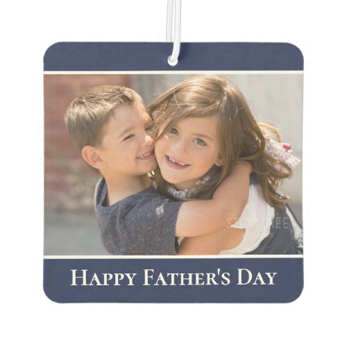Happy Fathers Day Custom Photo Modern Navy Border Air Freshener
