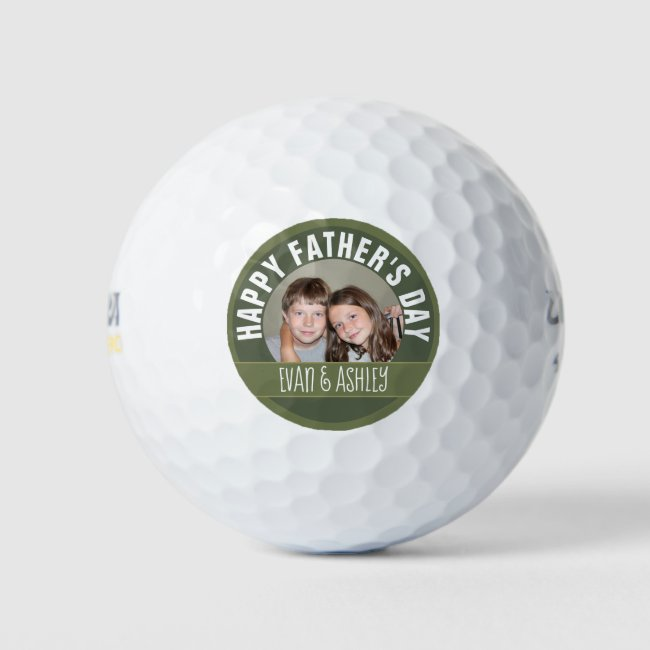 Happy Father's Day - Custom Photo Template - olive Golf Balls