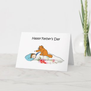 Happy Father's Day Cute Ginger Cat and Man. Card