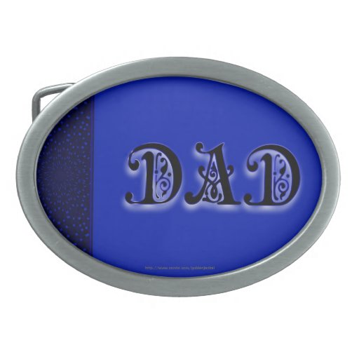 Happy Father's Day Dad blue scroll Oval Belt Buckle