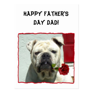 Happy Father's day dad bulldog greeting card Postcards