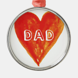 Happy fathers day, dad, hand painted red heart metal ornament