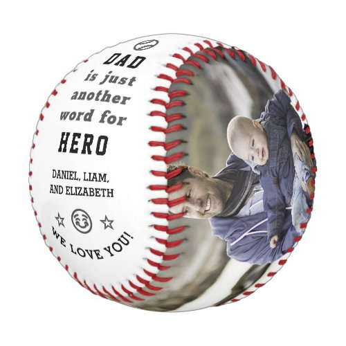 Happy Fathers Day Dad Hero Photo Collage  Names Baseball