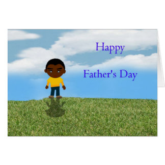 Happy Father's Day Dad with African American boy Greeting Card
