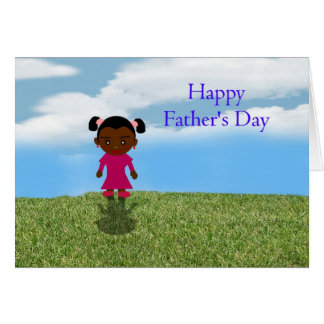 Happy Father's Day Dad with African American girl Greeting Card