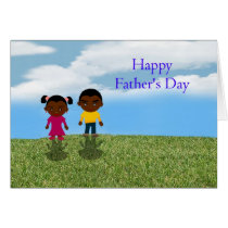 Happy Father's Day Dad with African American kids Card