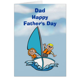 Happy Father's Day Dad with kids on boat Greeting Card