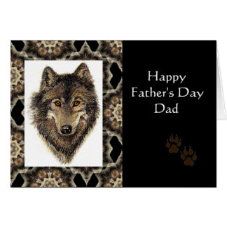Happy Father's Day Dad with Watercolor Wolf Card