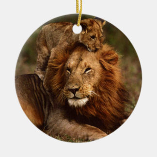 Happy Fathers Day Daddy Lion and Lion Cub Ceramic Ornament