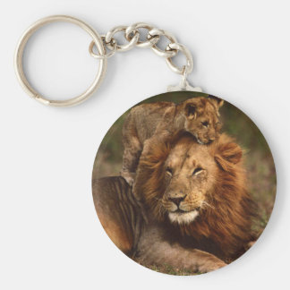 Happy Fathers Day Daddy Lion and Lion Cub Keychain