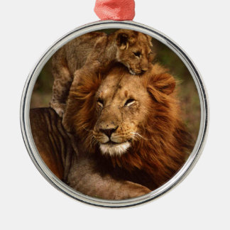 Happy Fathers Day Daddy Lion and Lion Cub Metal Ornament