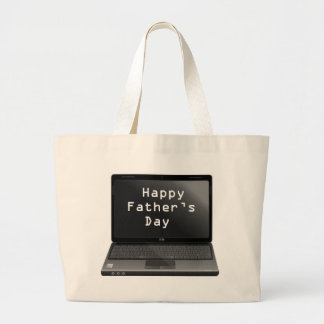 Happy Fathers Day Dads Laptop Large Tote Bag