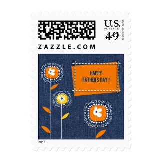 Happy Father's Day. Denim Design Postage Stamps