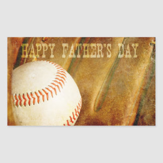 Happy Father's Day Faded Baseball Rectangular Sticker
