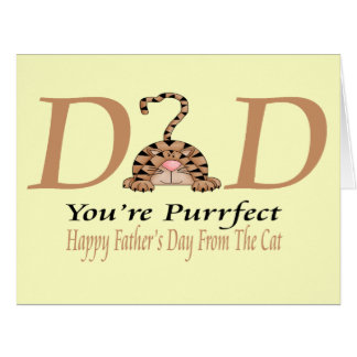 Happy Fathers Day From The Cat Large Greeting Card