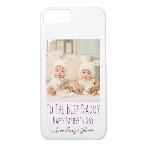 Happy Fathers Day From Twins Custom Photo iPhone 8/7 Case