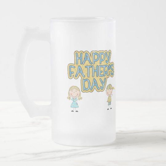 Happy Fathers Day Frosted Glass Beer Mug