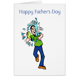 Happy Father's Day fun Dad with water balloon Greeting Card